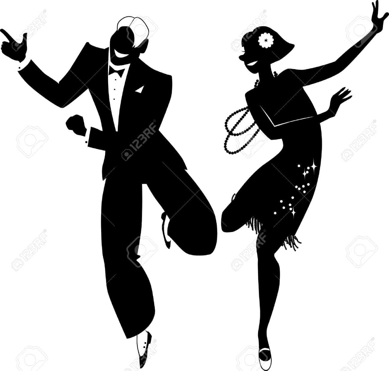 cours particulier de danse Charleston (Silhouette couple de danseurs)
