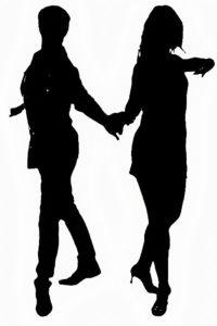 Silhouette de danseurs de chacha